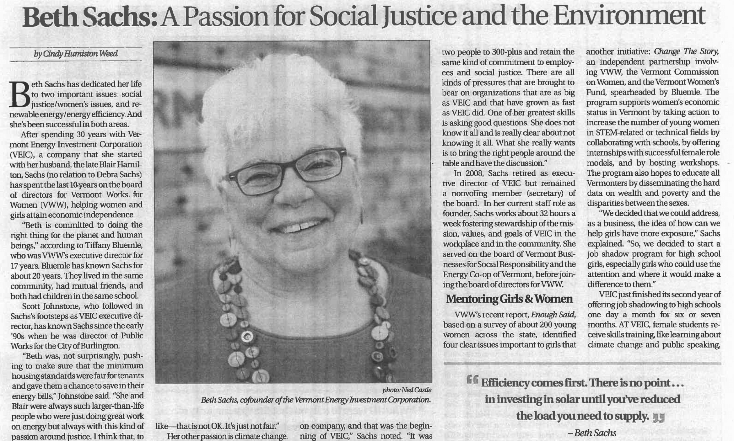 Vermont Woman – Beth Sachs: A Passion for Social Justice and the Environment
